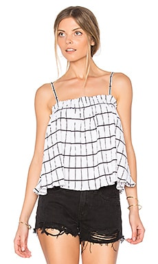 Check Ruffle Trapeze Top