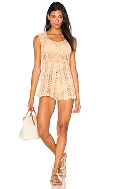 MINKPINK Colour Me Crochet Romper in Light Apricot