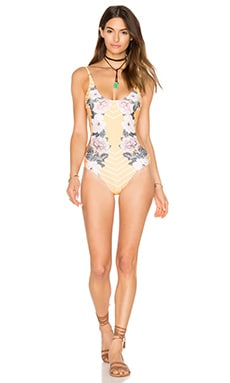 MINKPINK Spread Like Wildflowers One Piece Swimsuit in Multi Yellow