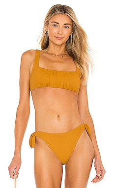 Constance Ruched Crop Bikini Top MINKPINK $45
