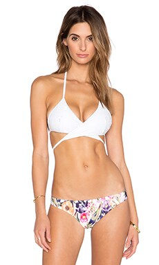 MINKPINK Believer Of Mermaids Cross Front Bikini Top in White Lace