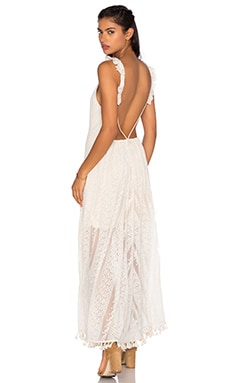 Cassie Maxi Dress in Natural Crochet