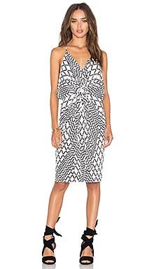 MISA Los Angeles Domino Tie Front Mini Dress in White Tiles