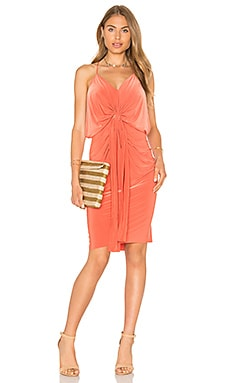 MISA Los Angeles Domino Midi Dress in Burnt Orange