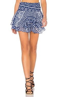 MISA Los Angeles Pilar Ruffle Skirt in Santorini Blue