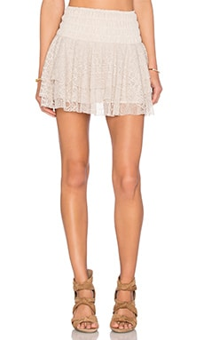 MISA Los Angeles Pilar Lace Ruffle Skirt in Cream