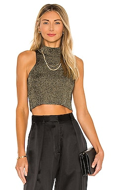 X REVOLVE Tanya Mock Neck Crop Top MISA Los Angeles $198 BEST SELLER