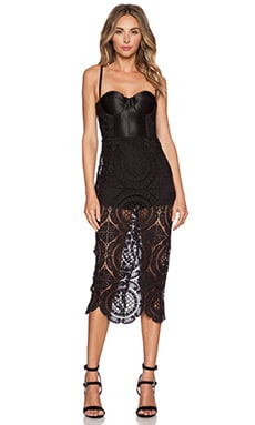 Misha Collection Floral Crochet Dress in Black