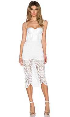 Misha Collection Flora Crochet Dress in Pearl White