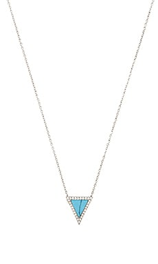 Michael Kors Triangle Pendant Necklace in Silver & Turquoise