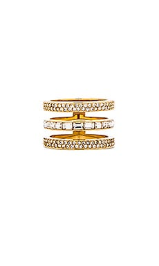 Michael Kors Tri Stack Barrel Ring in Gold & Clear