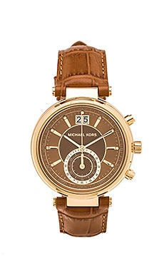 Michael Kors Sawyer Watch in Gold Tone & Whiskey