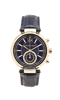 Michael Kors Sawyer Watch in Gold Tone & Navy