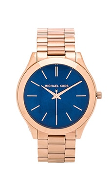 Michael Kors Slim Runway Watch in Rose Gold & Navy