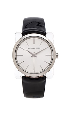 Michael Kors New Leather Watch in Black & Silver