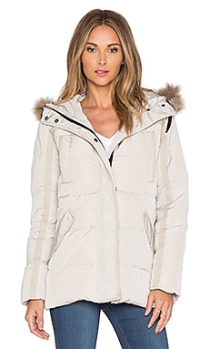 MKT studio Darloty Puffer Jacket with Raccoon Fur Trim in Grege
