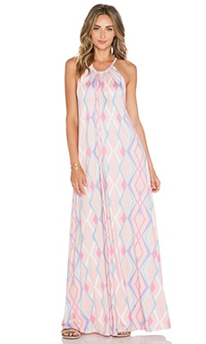 Michael Lauren Pedro Halter Maxi Dress in Pink Geo