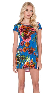 Michael Lauren Cuba T Shirt Dress in Royal Blue Flower