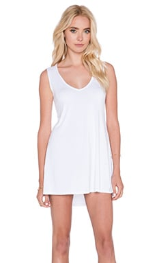 Michael Lauren Diamond V Neck Dress in White