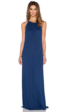 Michael Lauren Pedro Halter Maxi Dress in Blue Magic