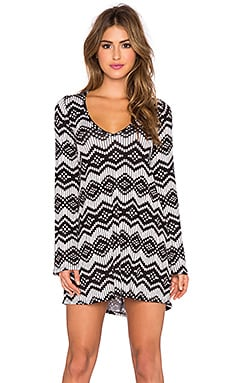Michael Lauren Kyle Long Sleeve V Neck Dress in Ikat