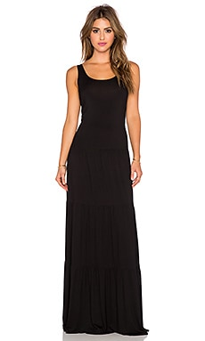 Michael Lauren Graceland Tiered Maxi Dress in Black