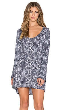 Michael Lauren Kyle Long Sleeve V Neck Dress in Navy Aztec