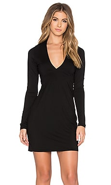 Kato Deep V Mini Dress in Black