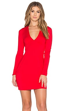 Michael Lauren Kato Deep V Mini Dress in Candy Red