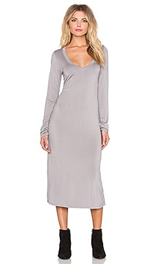 Michael Lauren Rivera Long Sleeve V Neck Midi Dress in Willow Grey