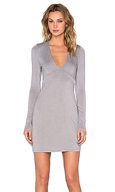 Michael Lauren Kato Deep V Mini Dress in Willow Grey