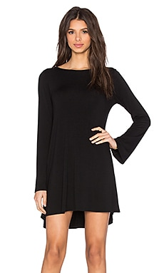 Michael Lauren Miguel Bell Long Sleeve V-Back Dress in Black