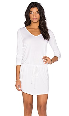 Michael Lauren Noel Long Sleeve V-Neck Dress in White