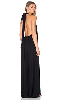 Michael Lauren French Halter Maxi Dress in Black
