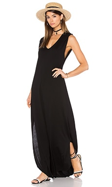 Michael Lauren Henderson V Neck Dress with Slit in Black