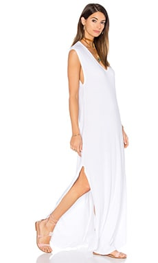 Michael Lauren Henderson V Neck Dress with Slit in White