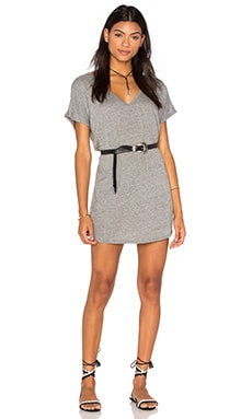 Michael Lauren Adler Oversized Double V Neck Dress in Heather Grey