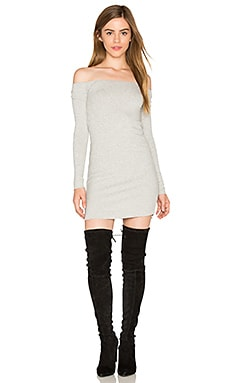Karl Off Shoulder Dress in Heather Grey
