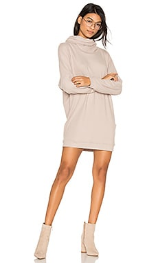 Vargus Draped Turtleneck Dress in Oatmeal