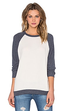 Michael Lauren Enzo Boyfriend Pullover in Navy & SIlk