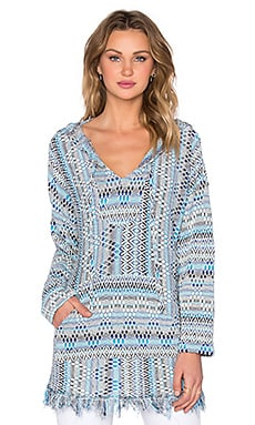 Michael Lauren Buster Hooded Poncho in Blue Multi