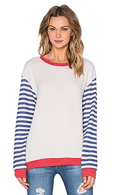 Michael Lauren Serge Stripe Pullover in Cloud & Cayenne