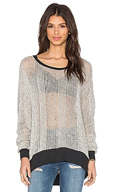 Michael Lauren Fred Sweater Cape in Cream & Charcoal