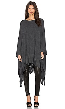 Rome Fringe Cape in Black