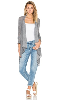 Michael Lauren Issac Draped Cardigan in Navy Steel