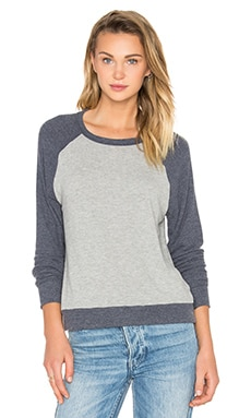 Holt Raglan Pullover in Heather Grey & Navy