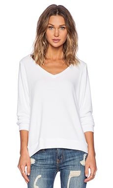 Michael Lauren Gregory V Neck Sweatshirt in White
