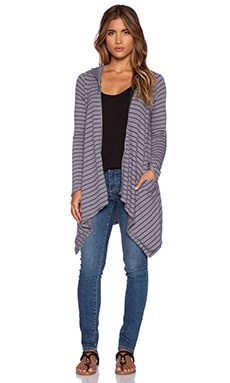 Michael Lauren Casper Draped Zip Hoodie in Grey Stripe