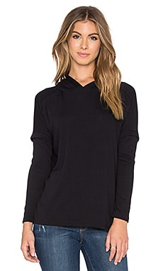 Michael Lauren Loyal Draped Hoodie in Black