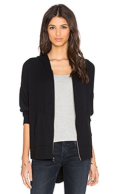 Michael Lauren Ajay Drape Back Zip Hoodie in Jet Black & Black Stripe